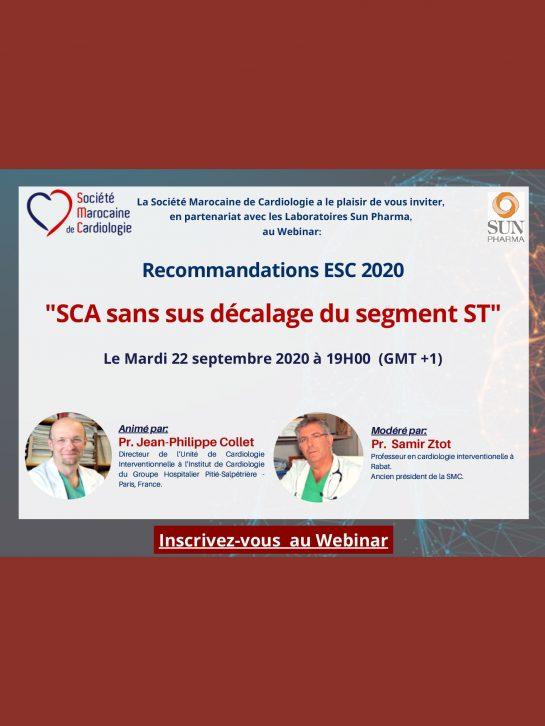 Recommandation ESC 2020 : SCA sans sus décalage du segment ST